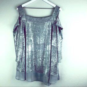 Cold shoulder metallic silver top